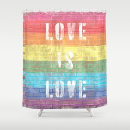 LGBTQ+ Pride Flag Love is Love Style 3 Distressed Brick Design Shower Curtain