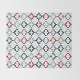 Modern Farmhouse Quilt Pattern Vintage Inspired NorthStar and Diamond Harlequin Print Throw Blanket