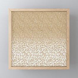 Trendy Gold Glitter and Leopard Print Gradient Design Framed Mini Art Print
