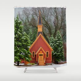 Christmas At Yosemite Chapel Shower Curtain