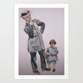 Watercolor Painting of a Smoking Lady with Child Art Print