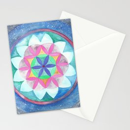Seed of Life - Sacred Geometry Mandala in Galaxy Stationery Cards