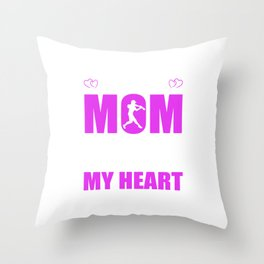 Softball Moms Full Heart Mothers Day T-Shirt Throw Pillow