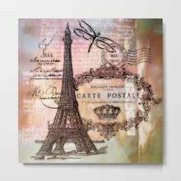 Eiffel tower collage Metal Print