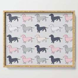 Doxie Love - Grey and Pink Serving Tray