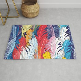 Seamless graphic pattern miracle multicolored feathers Rug