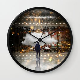Raining in the Streets Wall Clock