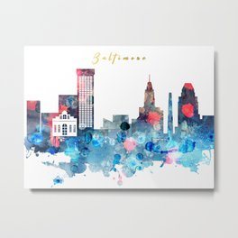Watercolor Baltimore skyline design Metal Print