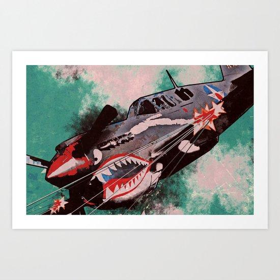 P40 Warhawk attack Art Print