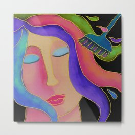 Hair Color Hair Stylist Abstract Digital Painting  Metal Print