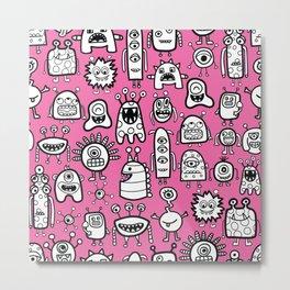 Cute Monsters White Pink Kids Pattern Metal Print