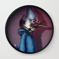 regular show Wall Clocks featuring Mordecai from Regular Show by Chuck Jackson