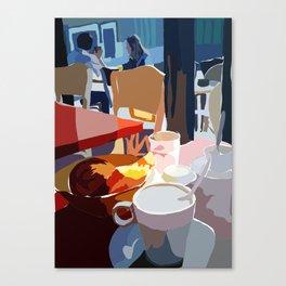 Cafe et Croissante Canvas Print