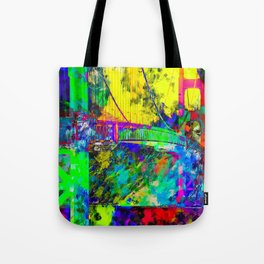 Golden Gate bridge, San Francisco, USA with colorful painting abstract background Tote Bag