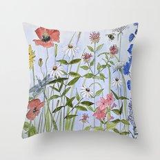 Botanical Garden Flower Wildflower Watercolor Throw Pillow