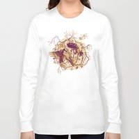 wings Long Sleeve T-shirts featuring Honey & Sorrow (grey) by Teagan White