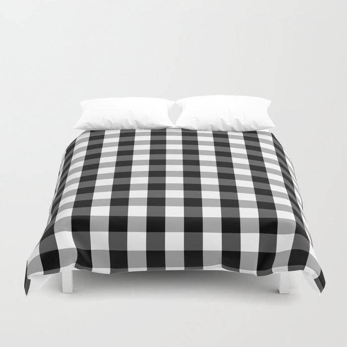 Large Black White Gingham Checked Square Pattern Duvet Cover