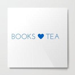 Books Love Tea Blue Metal Print