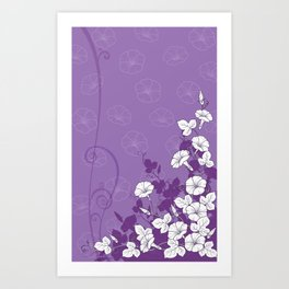 White Morning Glory Flowers with Purple Accents Art Print