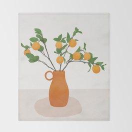 Orange Branches Throw Blanket