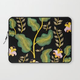 Tropical flowers and banana leaves // Green Pink Yellow Black Palette Laptop Sleeve