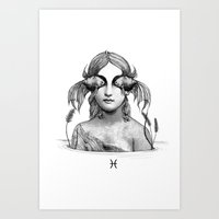 pisces Art Prints featuring Pisces by Carolina Espinosa