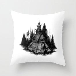 Fantoft Stave Church Throw Pillow