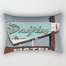 Vintage Neon Sign - The Drifter - Silver City Rectangular Pillow