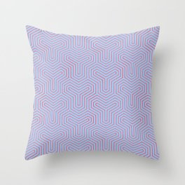 Geometric Y Shaped Pattern-Red on Periwinkle Throw Pillow