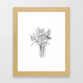 Floral Bouquet in Mason Jar Framed Art Print