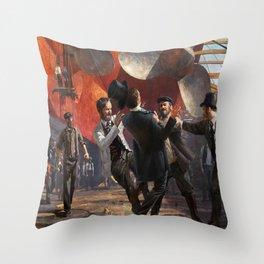 Anno 1800 1800s digital concept top hat steam ship dockyard workers propeller artwork Ubisoft Throw Pillow