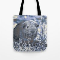 guinea pig Tote Bags featuring blue guinea pig by MehrFarbeimLeben