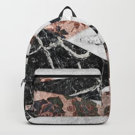Modern Chic Black White Marble and Rose Gold Geo Backpack