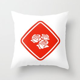 Road Sign - Roses Throw Pillow