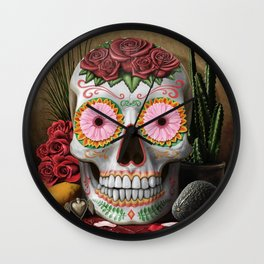 Flora - Sugar Skull with Cactus, Red Roses, Avocado and Papaya Wall Clock