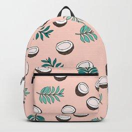 Little coconut garden summer surf palm leaves pink Backpack