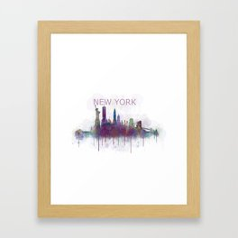 NY New York City Skyline v5 Framed Art Print