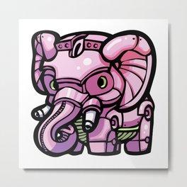 Pink Gorilla X Enfu Elephant Mech Metal Print
