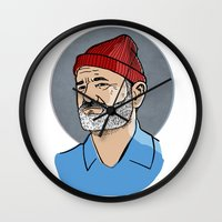 steve zissou Wall Clocks featuring Zissou by Max the Kid
