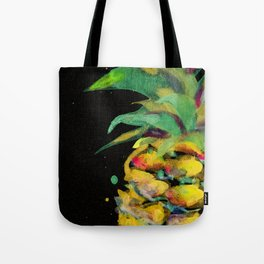 Golden Pineapple on Black&Gold Paper in Japanese Pigments Tote Bag