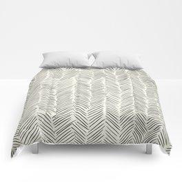 Herringbone Black on Cream Comforters