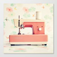 sewing Canvas Prints featuring Sewing Machine by Caroline Mint