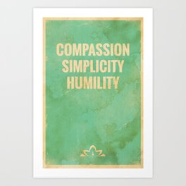 The Three Jewels of Taoism: Compassion, Simplicity, Humility Art Print