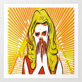 Blonde bombshell pop art Art Print