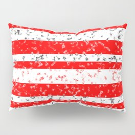 Red and White Stripe Patchy Marble Pattern Pillow Sham