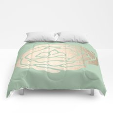 Rose White Gold Sands on Pastel Green Cactus Comforters