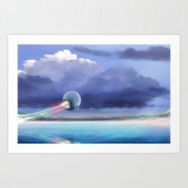 Cruising over the beach Art Print
