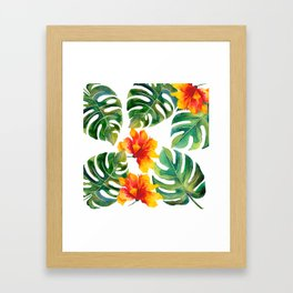 Monstera And Hibiscus Framed Art Print