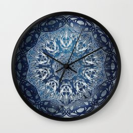 Indigo Nouveau Shibori Mandala Wall Clock
