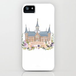 Provo City Center LDS watercolor Temple with flower wreath  iPhone Case